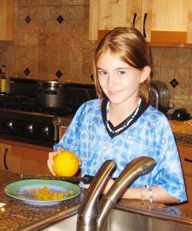 Pam's daughter Anna, zesting an orange