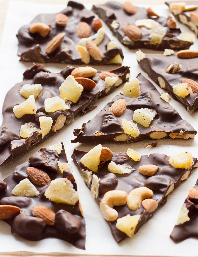 Bittersweet Chocolate Bark with Candied Ginger and Mixed Nuts