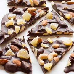 Bittersweet Chocolate Bark with Candied Ginger and Mixed Nuts / JillHough.com