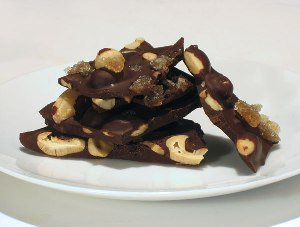 Bittersweet Chocolate Bark with Candied Ginger and Mixed Nuts / Jill ...