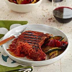 Spice-Rubbed Pork Chops With Grilled Tomato Sauce / JillHough.com