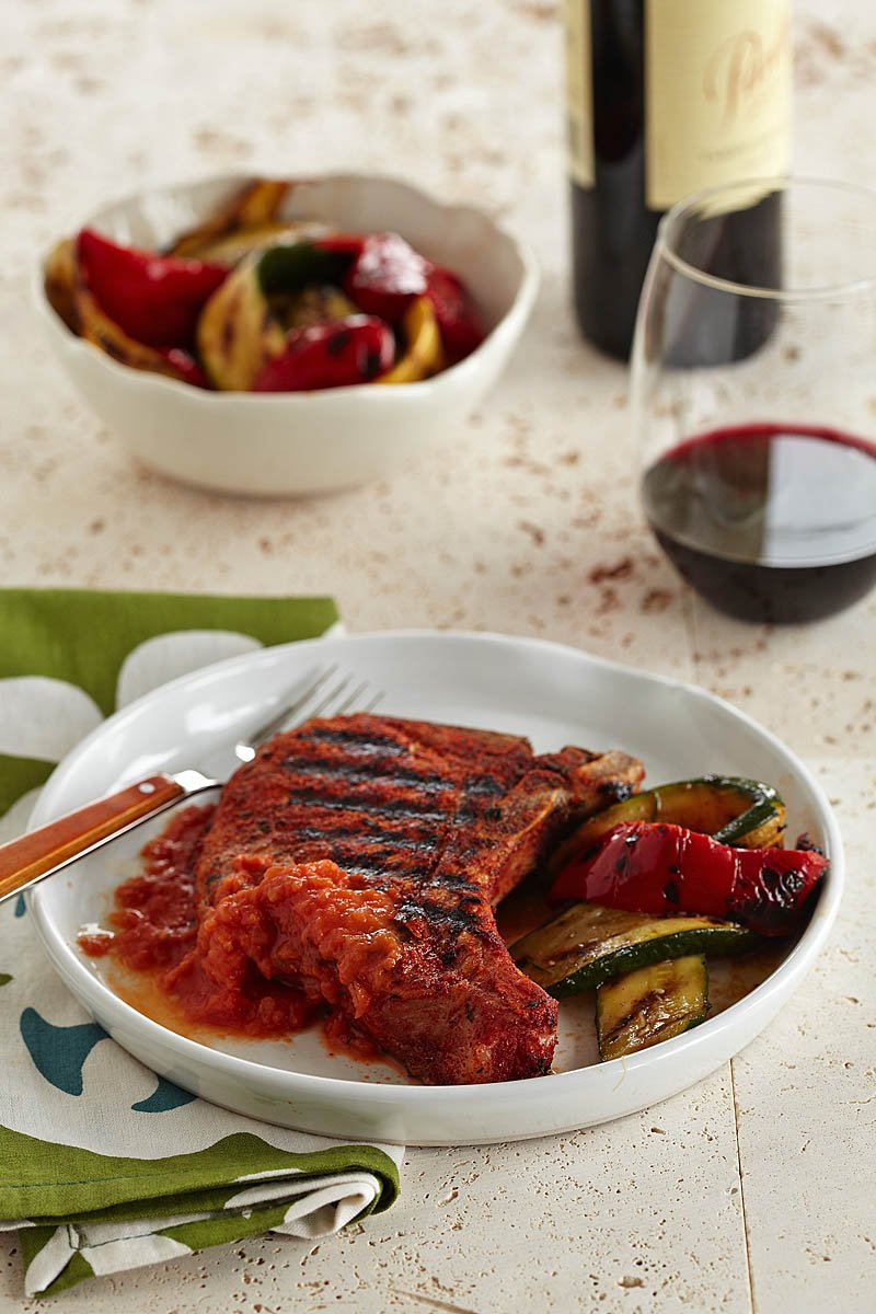 Spice-Rubbed Pork Chops with Grilled Tomato Sauce