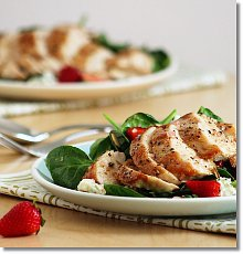 Spinach Salad with Chicken, Strawberries, Blue Cheese, and Almonds