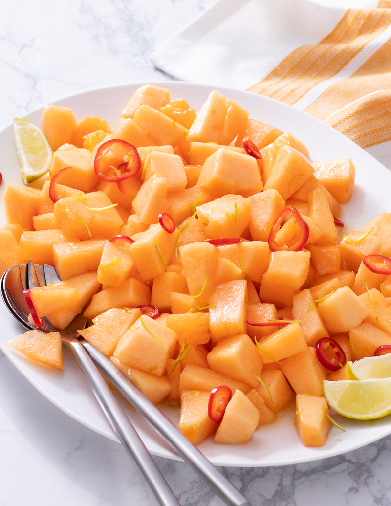 Melon and Chile Salad with Lime / JillHough.com A refreshing summer salad if there ever was one. Sweet, yes, but with so much more going on. #melon #cantaloupe #chile #fruitsalad