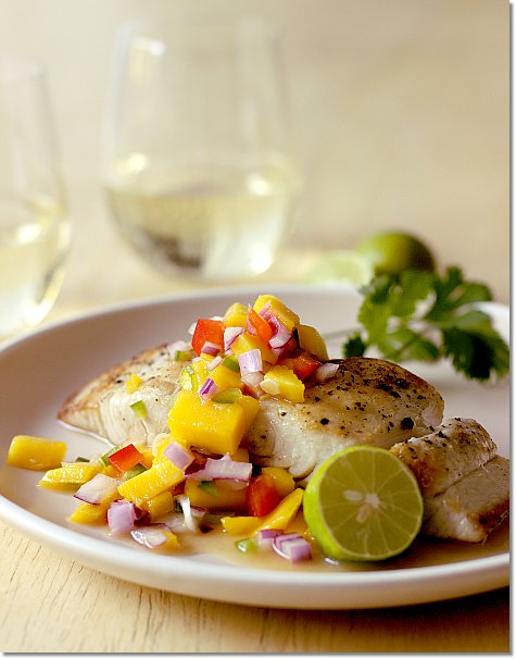 Mahi Mahi with Mango Salsa and Riesling on JillHough.com
