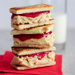 "PB&J Ice Cream Sandwiches / JillHough.com Adorable, charming, delicious ice cream sandwiches from Jennie Schacht's cookbook ""I Scream Sandwich!"" #peanutbutter #jelly #icecream #icecreamsandwich"