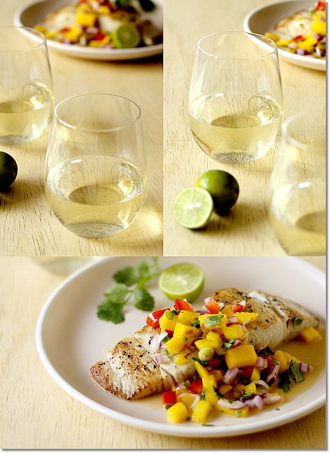 Riesling with Mahi Mahi with Mango Salsa on JillHough.com