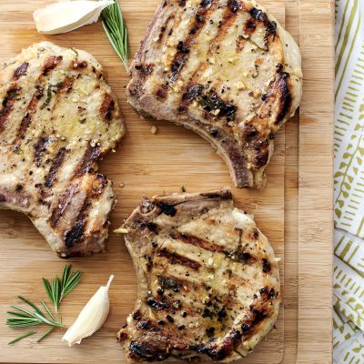 Grilled Pork Chops / JillHough.com A post about how to keep foods from sticking, to the grill or the stovetop #cookingtips #grilling #howto #porkchops