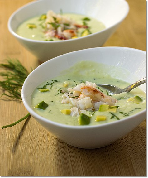 Chilled Cucumber and Avocado Soup with Crab / Jill Silverman Hough