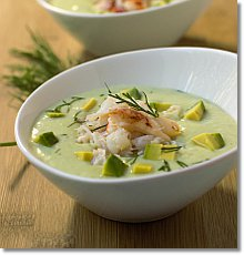 Chilled Cucumber and Avocado Soup with Crab