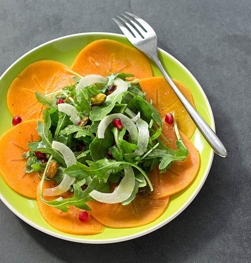 Persimmon, Pomegranate, and Pistachio Salad on JillHough.com