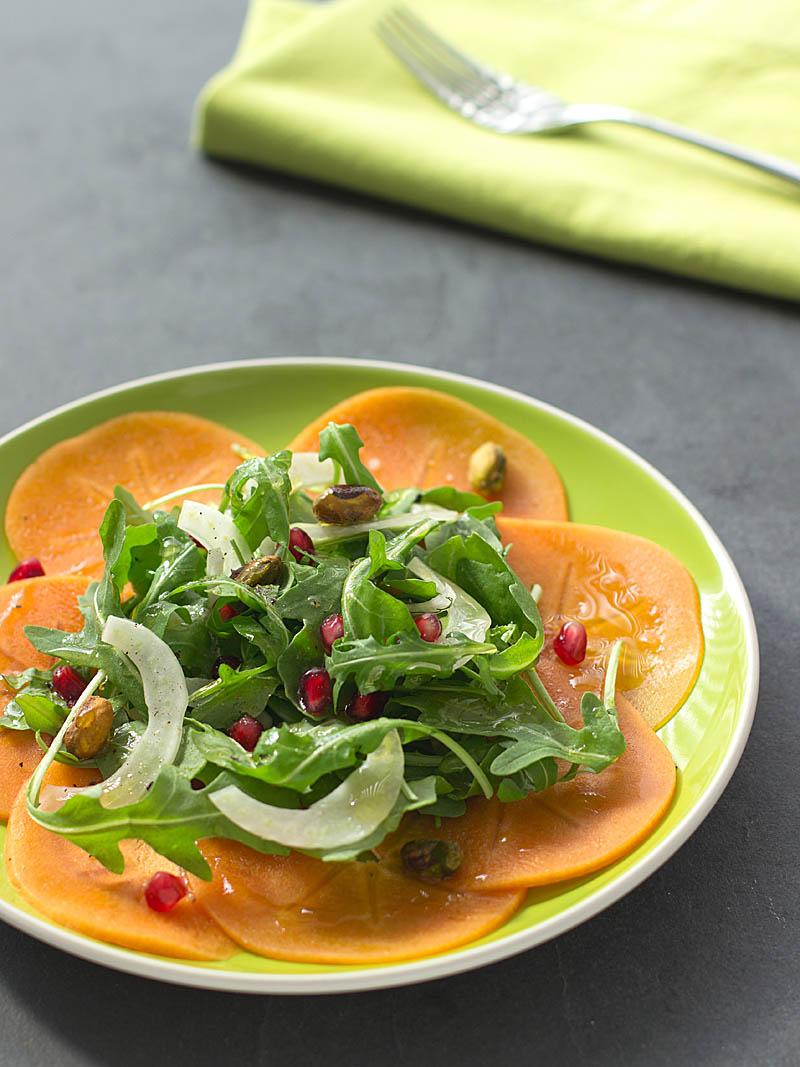 Persimmon, Pomegranate, and Pistachio Salad on JillHough.com