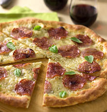 Pizza with Salami, Mozzarella, and Fresh Herbs / JillHough.com
