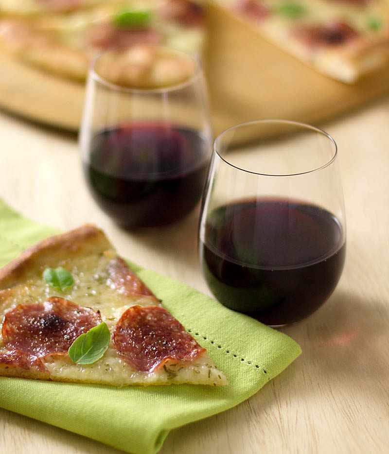 Syrah with Pizza with Salami, Mozzarella, and Fresh Herbs on JillHough.com