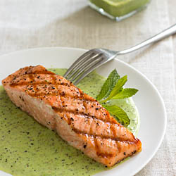 Grilled King Salmon with English Peas and Mint