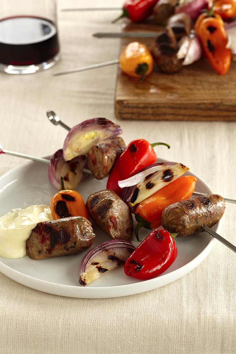 Grilled Sausages, Peppers, and Onions with Dijon Sour Cream