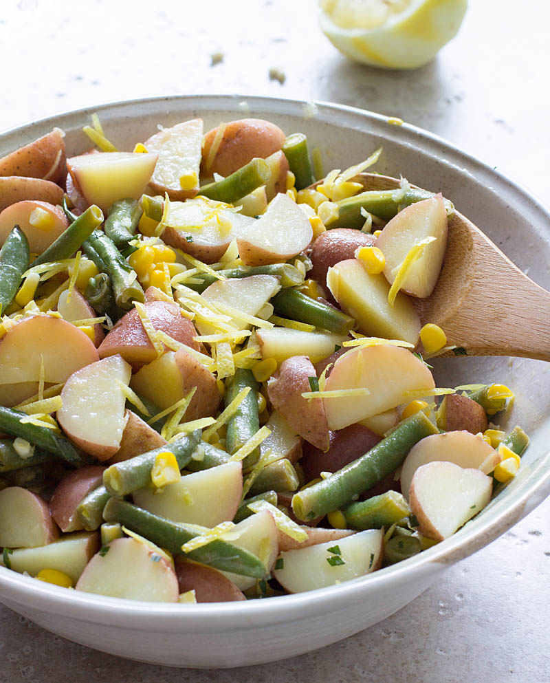 Summer Potato Salad with Green Beans, Corn, Lemon, and Olive Oil