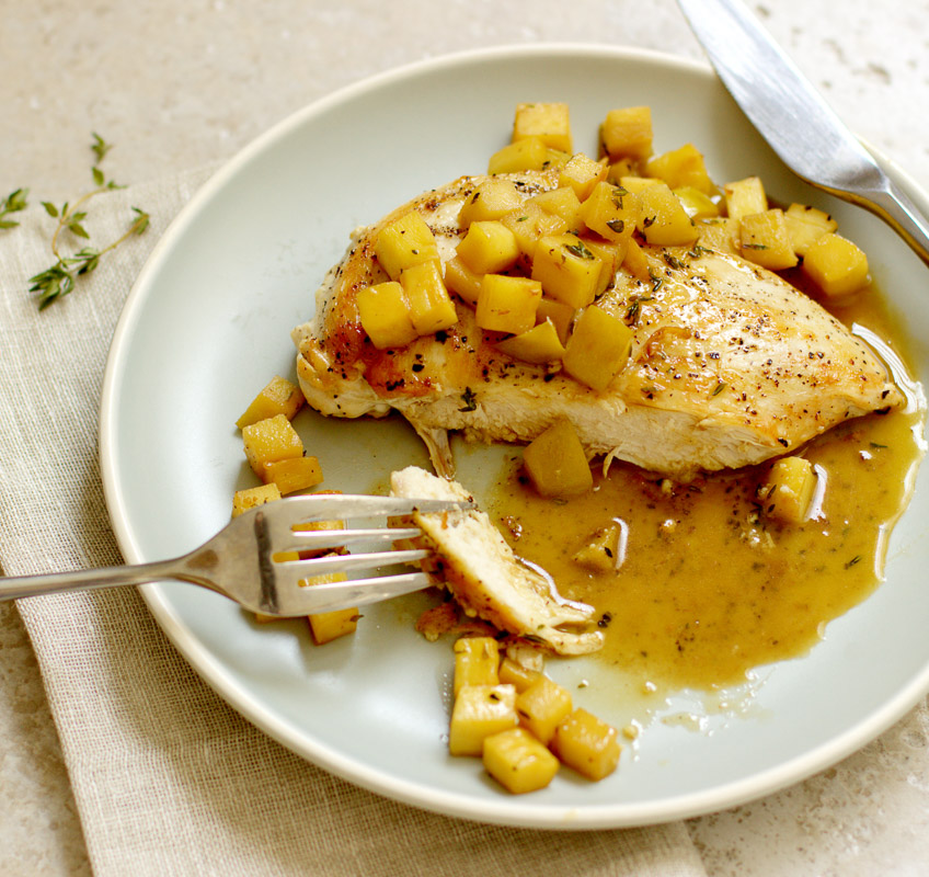 Sauteed Chicken with Parsnip, Apples, and Sherry Pan Sauce / JillHough.com