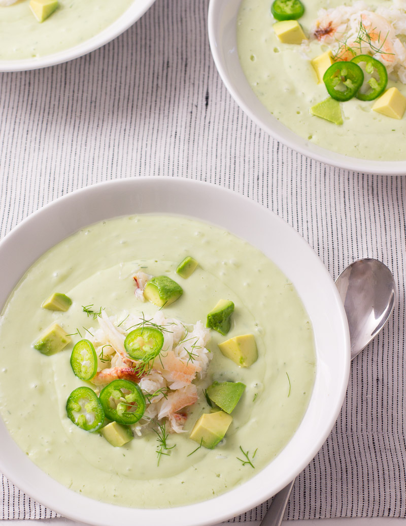 Chilled Cucumber and Avocado Soup with Crab / JillHough.com