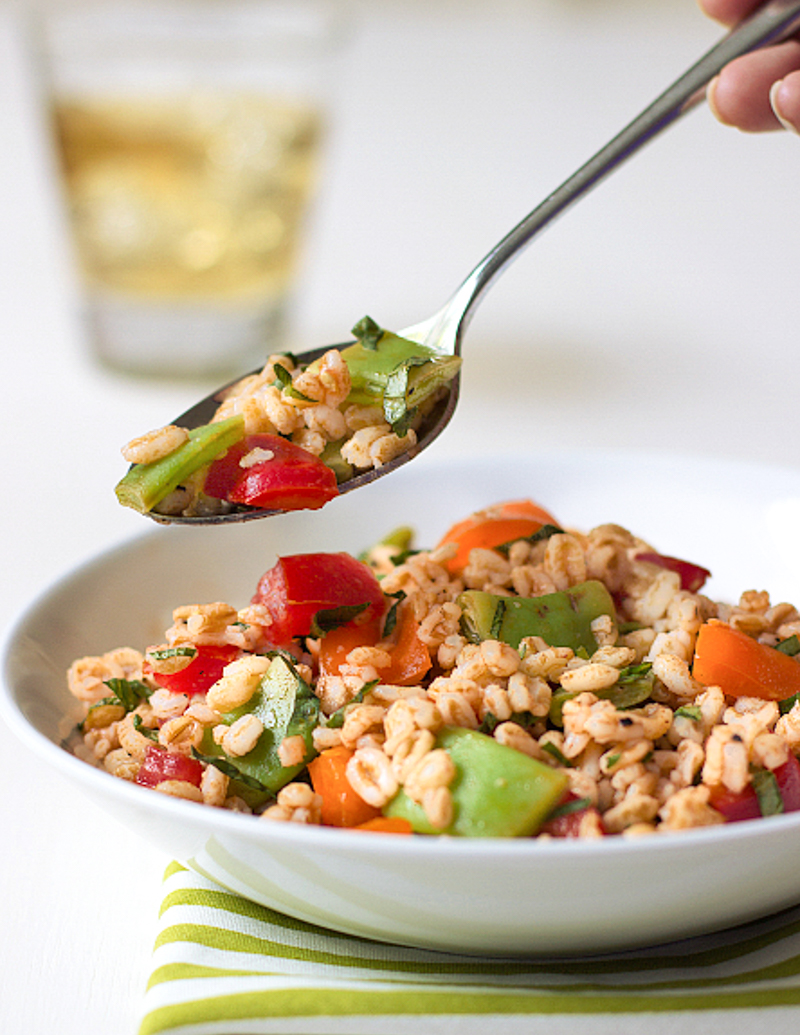 Farro Salad / JillHough.com This hearty-yet-refreshing salad is loaded with summery vegetables—green beans, bell peppers, and tomato—and laced with basil.
