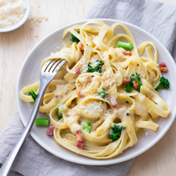 Fettuccini Carbonara with Broccolini / JillHough.com Pasta carbonara is one of my all-time favorite pastas – because it's so easy to make, yet so full of flavor.