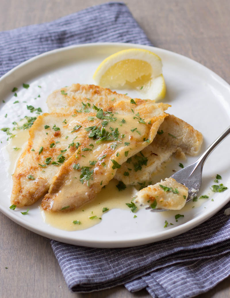 Fillet of Sole with Lemon-Wine Pan Sauce / JillHough.com