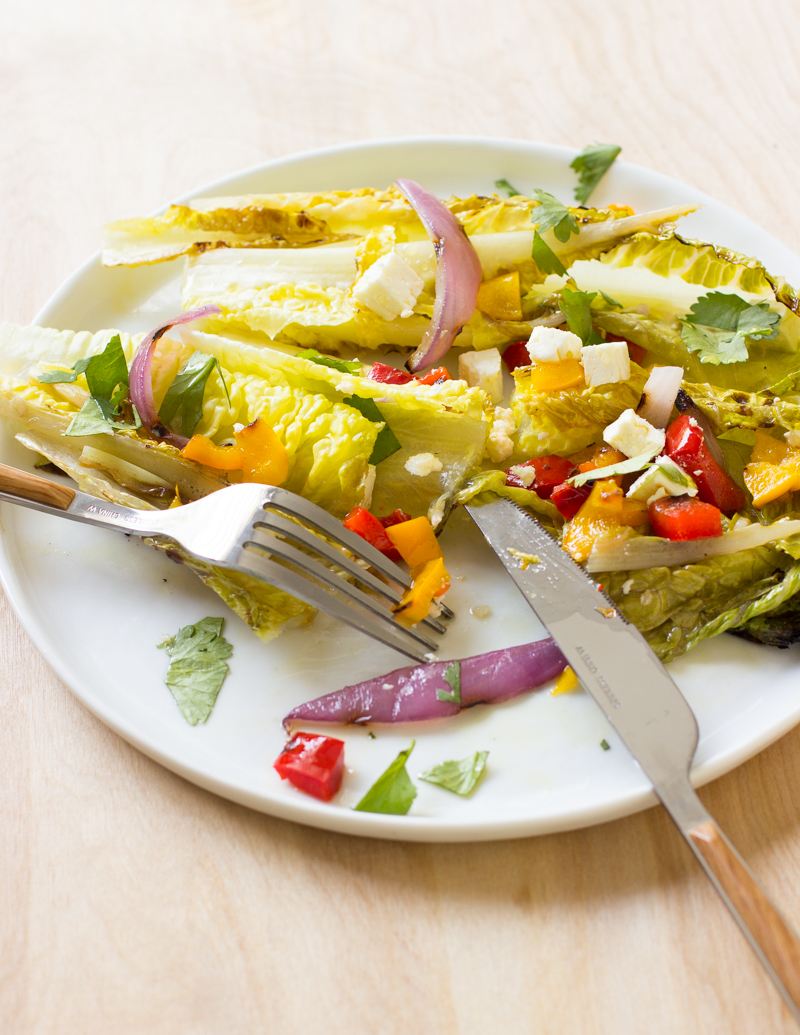 Grilled Salad with Romaine, Peppers, Feta, and Cilantro / JillHough.com