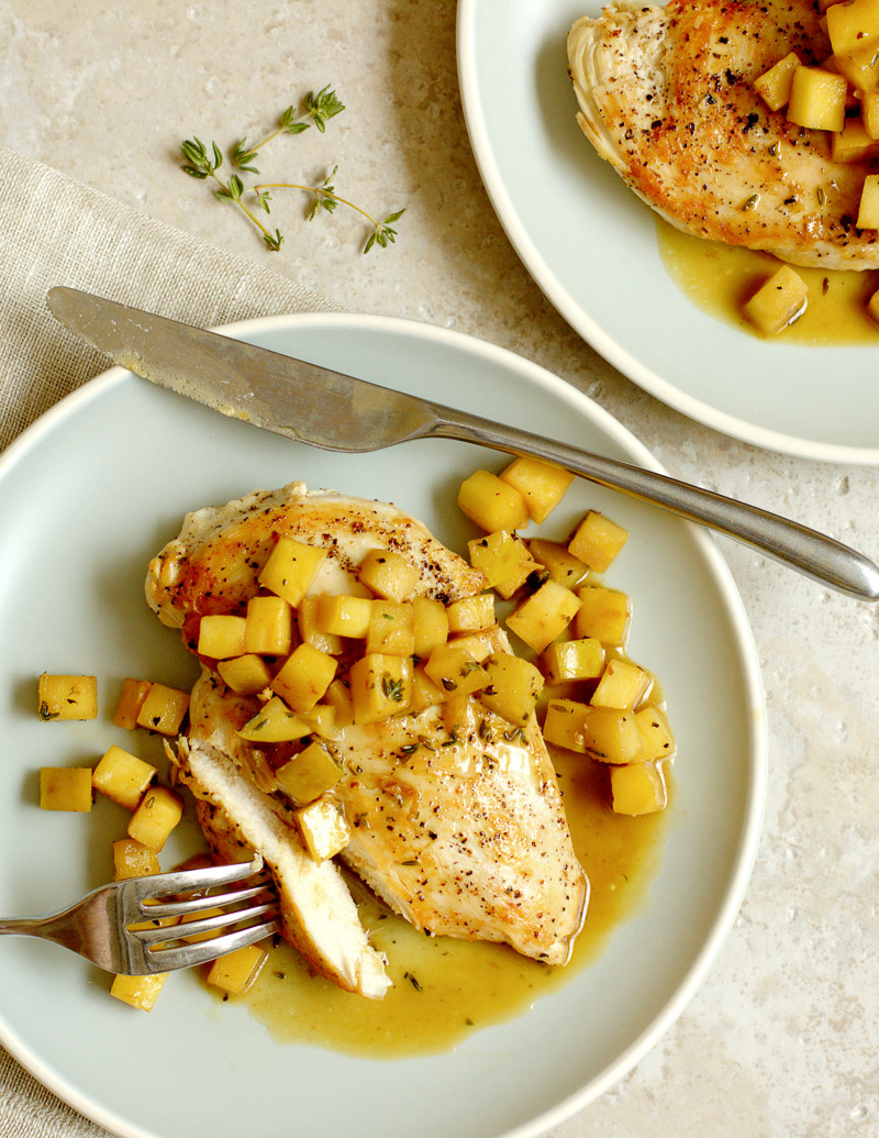 Sautéed Chicken with Parsnip, Apple, and Sherry Pan Sauce