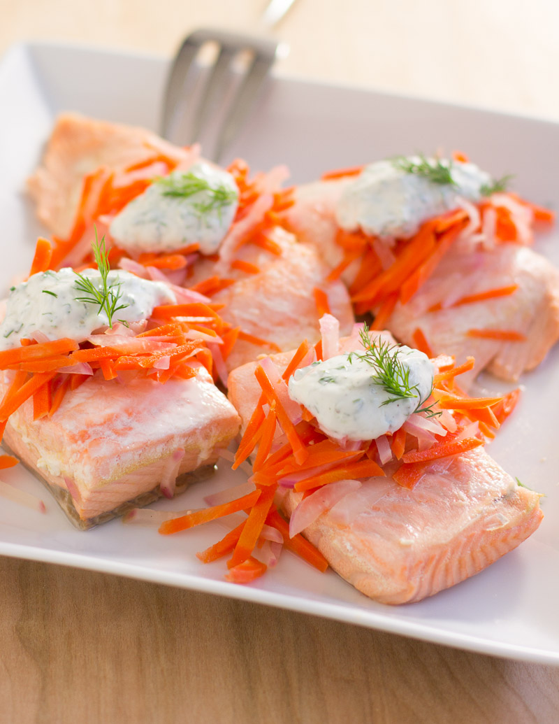 Dill-Poached Salmon with Herbed Yogurt Sauce / JillHough.com