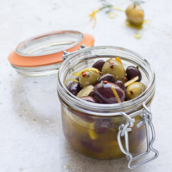 Marinated Olives with Citrus and Garlic, an easy app to ride out the holidays