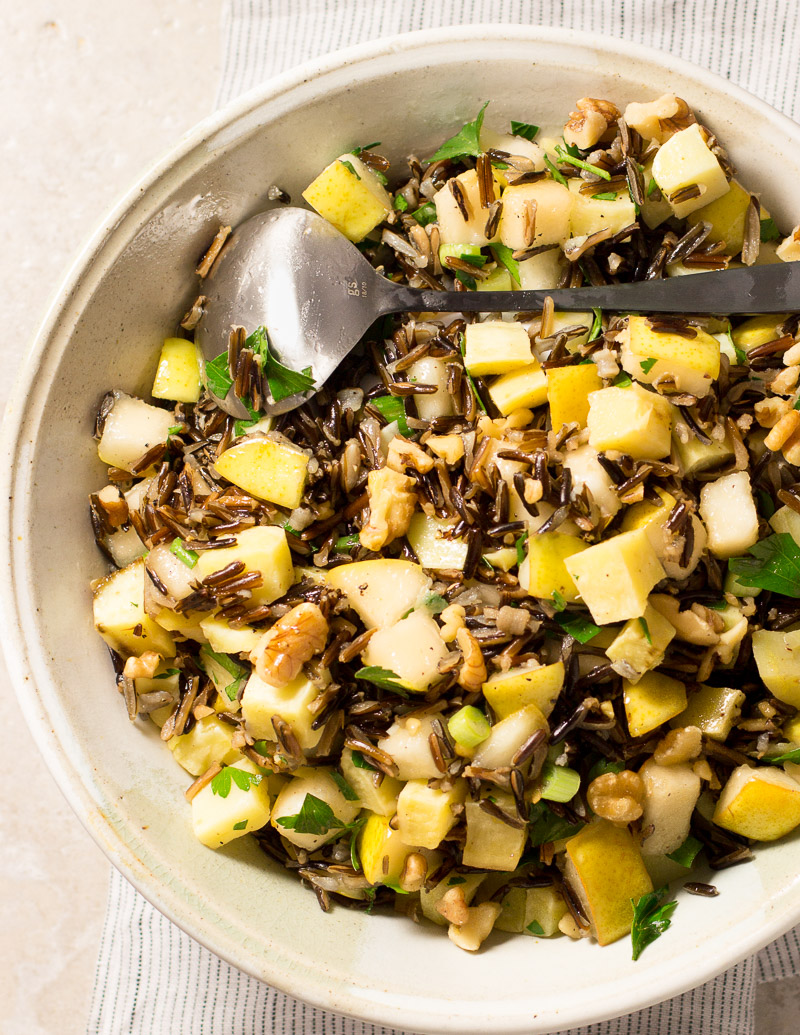 Wild Rice, Pear, and Sweet Potato Salad with Walnuts / JillHough.com