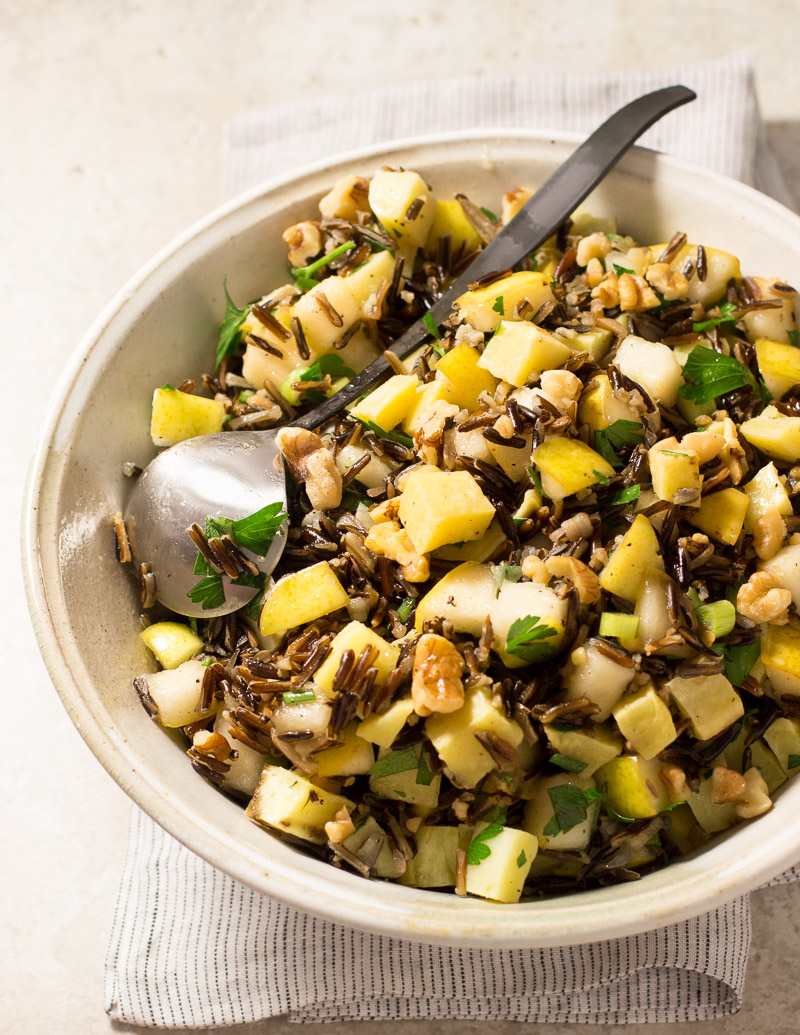 Wild Rice, Pear, and Roasted Sweet Potato Salad with Walnuts