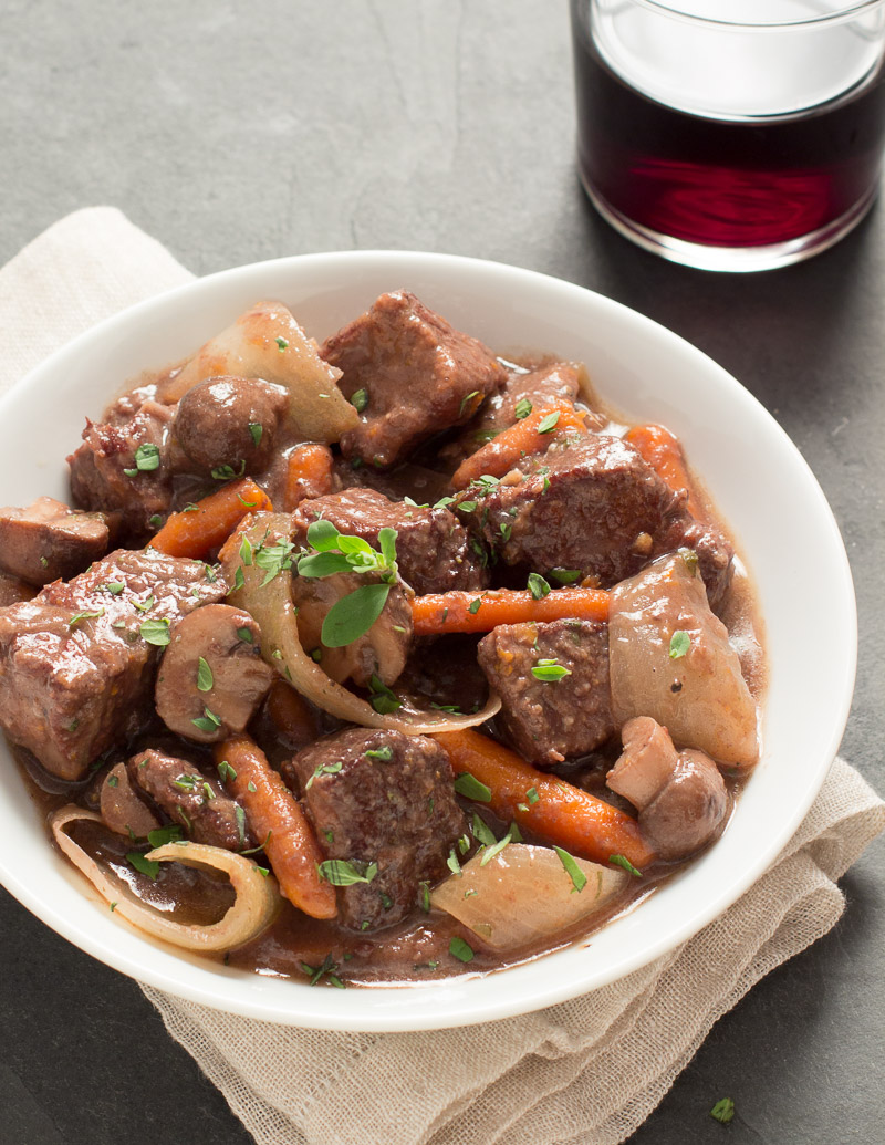 Wine-Simmered Beef Stew with Carrots, Mushrooms, and Sweet Onions
