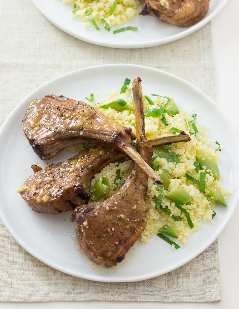 Lemon-Garlic Lamb Chops with Minted Couscous
