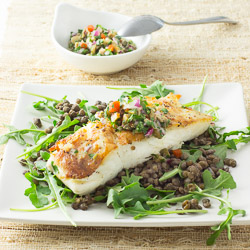 Halibut with Green Olive Salsa Verde, Arugula, and Lentils