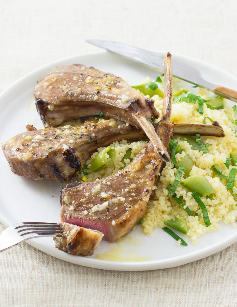 Lemon-Garlic Lamb Chops with Minted Couscous / JillHough.com
