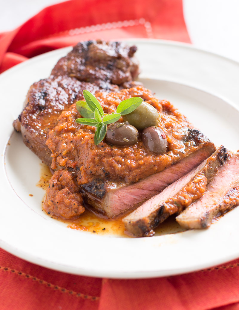 Spice-Rubbed Steaks with Grilled Gazpacho Sauce / JillHough.com