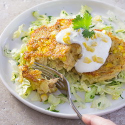 Corn and Crab Cakes with Cilantro and Lime Sour Cream / JillHough.com