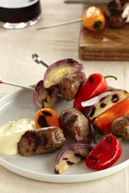 Grilled Sausages, Peppers, and Onions With Dijon Sour Cream / JillHough.com