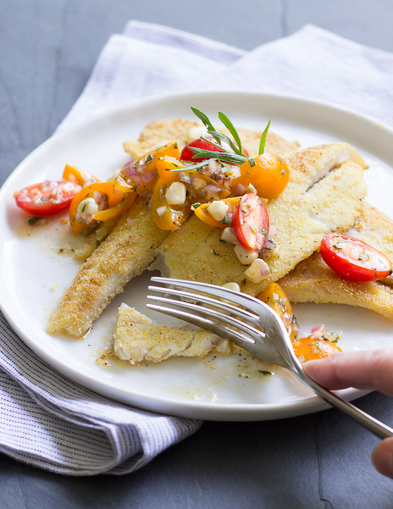 Cornmeal-Crusted Petrale with Tomato-Tarragon Relish / JillHough.com