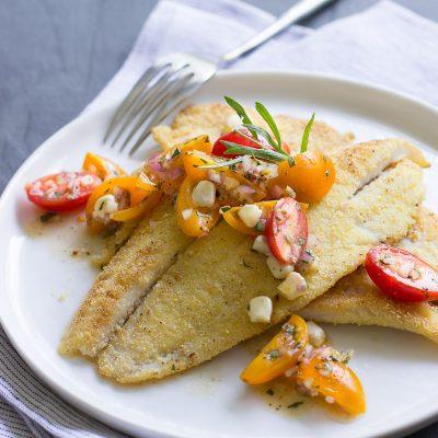 Cornmeal-Crusted Petrale with Tomato-Tarragon Relish / JillHough.com