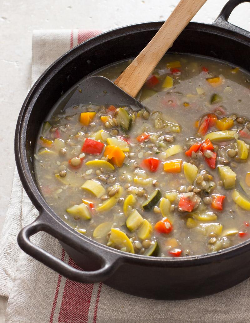 Colorful Vegetable and Lentil Soup / JillHough.com