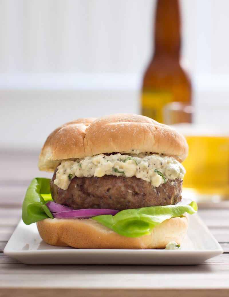 Lamburgers with Basil and Blue Cheese Dressing / JillHough.com