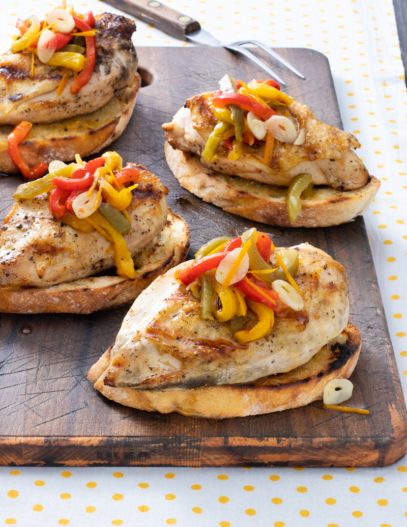 Grilled Chicken with Marinated Peppers and Onions / JillHough.com You need to start a day or so ahead to marinate the peppers.But you'll be rewarded with a juicy, succulent mixture that's both pretty and yummy.