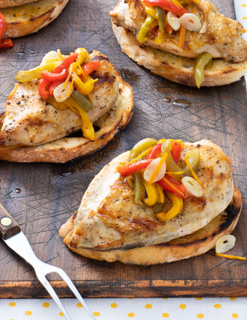 Grilled Chicken with Marinated Peppers and Onions / JillHough.com You need to start a day or so ahead to marinate the peppers. But you'll be rewarded with a juicy, succulent mixture that's both pretty and yummy.