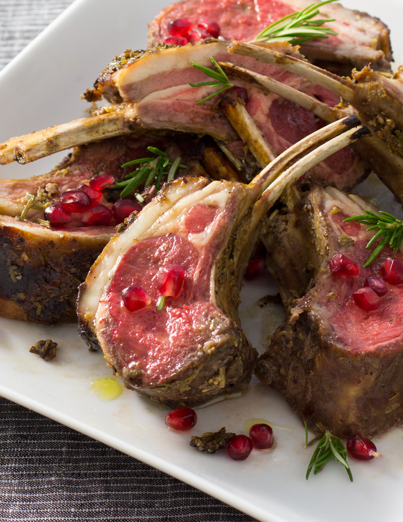 Pomegranate Rack of Lamb with Garlic and Rosemary / JillHough.com