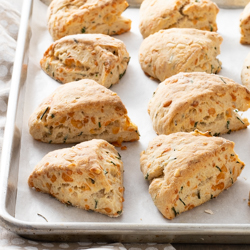 Rustic Gruyère Chive Scones / JillHough.com These savory scones have plenty of cheesy goodness and a little earthiness from whole wheat flour. I like them along side soup, salad, or an eggy casserole for brunch, lunch, or dinner—or simply with a cup of coffee for breakfast.