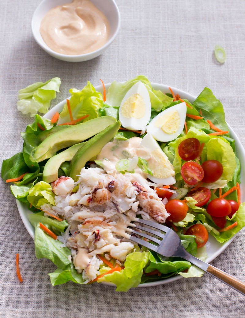 Dungeness Crab Louis / JillHough.com A delectable combination of veggies, crunchy greens, creamy dressing, and a pile of sweet, succulent crab.