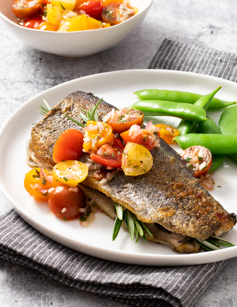 Pan-Seared Rosemary Rainbow Trout with Cherry Tomato Relish / JillHough.com This tasty trout recipe can be ready in about fifteen minutes—and is especially pretty if you use a medley of cherry tomato shapes and colors.