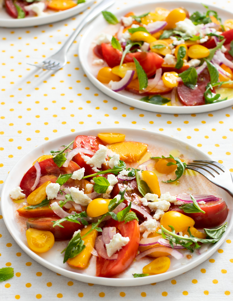Tomato and Peach Salad with Feta and White Balsamic / JillHough.com This is one of those recipes that's all about starting with really incredible ingredients and then not fussing with them too much. In other words, make it with the best summer produce you can find.